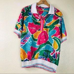 🔴 Vintage Russ 80s Floral Blouse